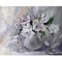 Белые тюльпаны Раскраска картина по номерам на холсте
