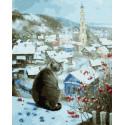 Кот на крыше Раскраска картина по номерам на холсте KH0902