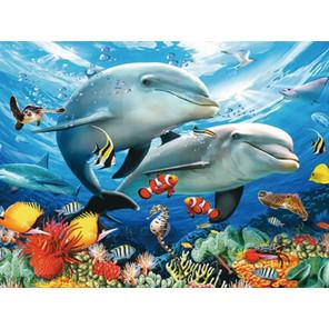 Дельфины в море Алмазная частичная вышивка (мозаика) Molly KM0724