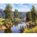 Проточная река Алмазная мозаика вышивка на подрамнике Molly KM0664