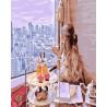 Чаепитие с видом на город Раскраска картина по номерам на холсте МСА696