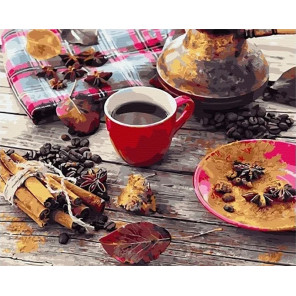 Кофе с пряностями Раскраска картина по номерам на холсте МСА704
