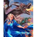 Девушка и драконы Раскраска картина по номерам на холсте MCA913