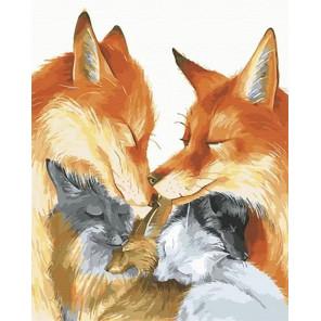 Влюбленные лисы Раскраска картина по номерам на холсте MCA929