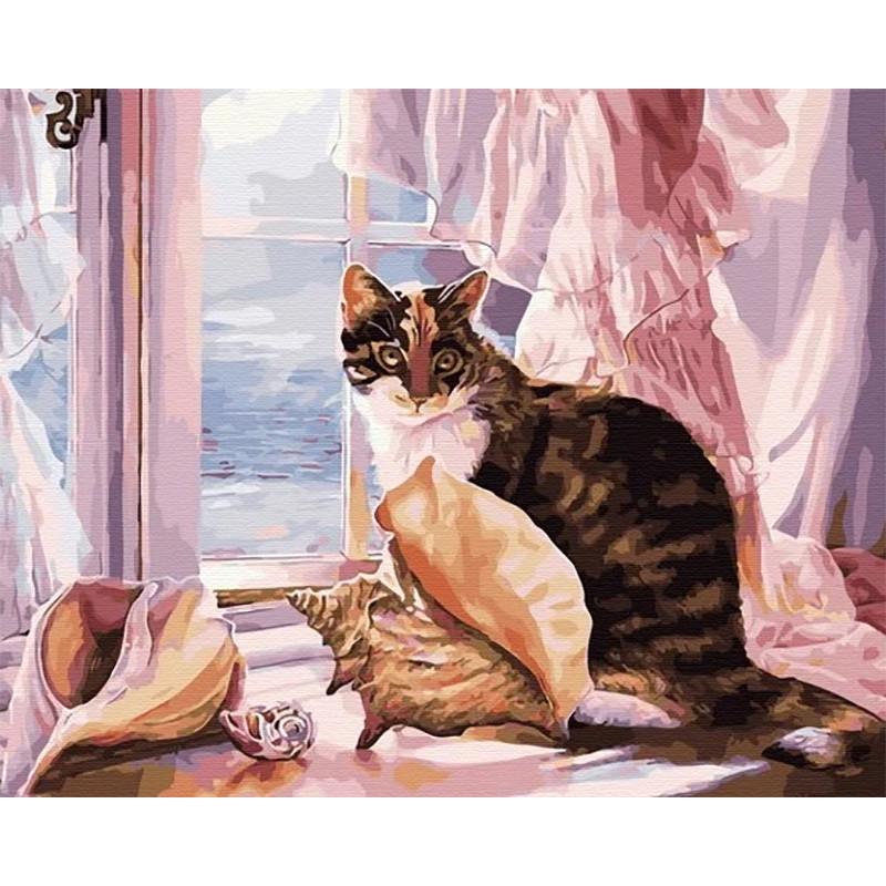 MCA956 Кошка на окне Раскраска картина по номерам на ...