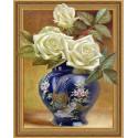 Розы в восточной вазе. Бузин Алмазная мозаика вышивка на подрамнике Molly KM0654