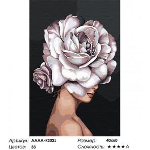Сложность и количество цветов Девушка. Цветок на голове - роза Раскраска картина по номерам на холсте AAAA-RS025