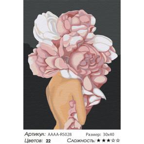 Девушка с цветком на голове. Розовые пионы Раскраска картина по номерам на холсте AAAA-RS028