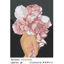 Сложность и количество цветов Девушка с цветком на голове. Розовые пионы Раскраска картина по номерам на холсте AAAA-RS028-75x1