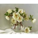 Белые розочки. Бузин Алмазная мозаика вышивка без подрамника Molly KM0244