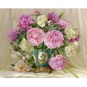 Розовые и белые пионы. Бузин Алмазная мозаика вышивка без подрамника Molly KM0254