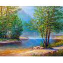 Река в лесу Раскраска картина по номерам на холсте MG2151