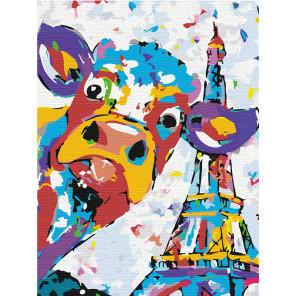 Пример в интерьере Веселый бычок в Париже Раскраска картина по номерам на холсте с неоновыми красками AAAA-RS026