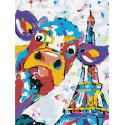 Веселый бычок в Париже Раскраска картина по номерам на холсте с неоновыми красками AAAA-RS026