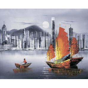 Ночной Гонконг Алмазная мозаика на подрамнике LG253