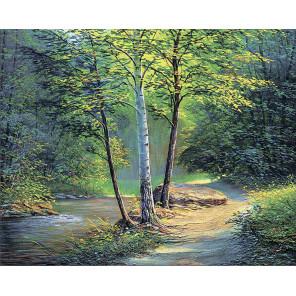 Река в лесу Алмазная мозаика на подрамнике LG259