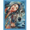 Алеутка и волк Алмазная мозаика на подрамнике QR200009