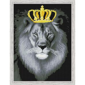 Лев в золотой короне Алмазная мозаика на подрамнике QR200003