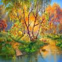 Золотая осень Алмазная мозаика вышивка без подрамника Molly KM0235