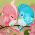 Птицы неразлучники Алмазная мозаика вышивка без подрамника Molly KM0238
