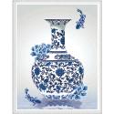 В стиле гжель Алмазная мозаика вышивка на подрамнике Molly KM0623