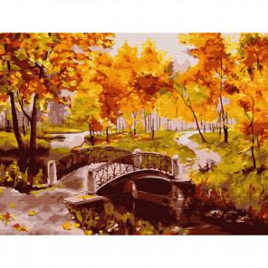 Золотая осень Картина по номерам с цветной схемой на холсте KK0606