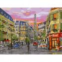 Парижская улица Картина по номерам с цветной схемой на холсте KK0653