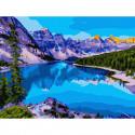 Озеро в Канаде Картина по номерам с цветной схемой на холсте KK0604