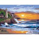 Красивый закат Картина по номерам с цветной схемой на холсте KK0618