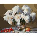 Натюрморт с белыми пионами Картина по номерам с цветной схемой на холсте KK0639