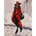 Девушка в красном Картина по номерам с цветной схемой на холсте KK0667