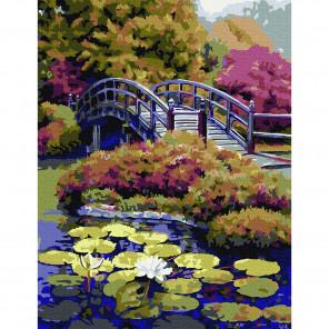 Японский сад Картина по номерам с цветной схемой на холсте KK0671