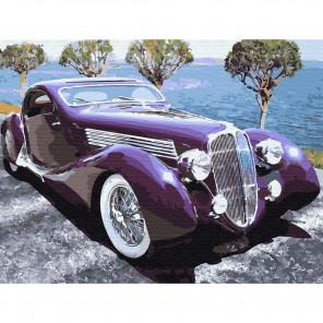 Ретро автомобиль Картина по номерам с цветной схемой на холсте KK0645