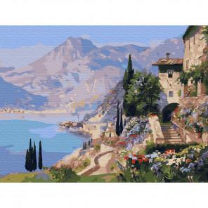 Внешний вид коробки упаковки Италия. Озеро Комо Картина по номерам с цветной схемой на холсте KK0623