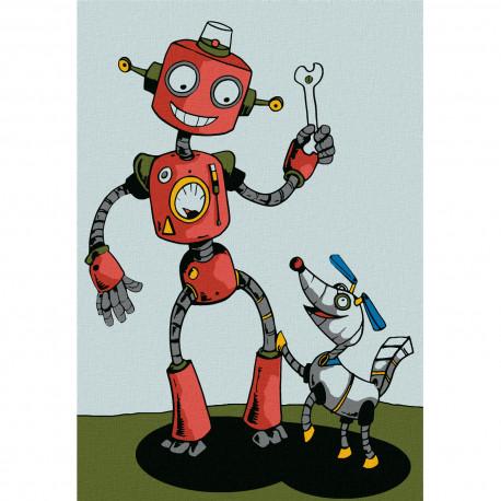 KHM0001 Робот с собачкой Раскраска по номерам на холсте ...