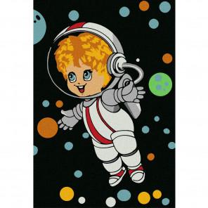 Отважный космонавт Раскраска по номерам на холсте KHM0003