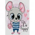 Застенчивый мышонок Раскраска по номерам на холсте KHM0012