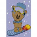 Мишка-сноубордист Раскраска по номерам на холсте KHM0014