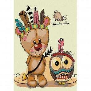 Медвежонок -индеец Раскраска по номерам на холсте KHM0016