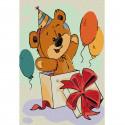 Медвежонок-сюрприз Раскраска по номерам на холсте KHM0017