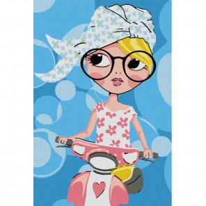 Девочка на скутере Раскраска по номерам на холсте KHM0025