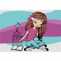 Девочка с птичкой Раскраска по номерам на холсте KHM0026