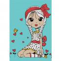 Девочка с косичками Раскраска по номерам на холсте KHM0030