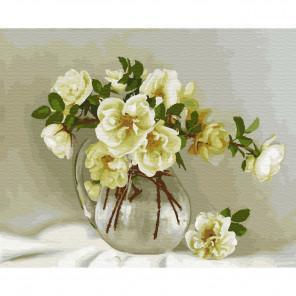 Белые розочки. Бузин Картина по номерам на дереве KD0708