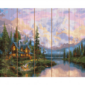 Дом на реке Картина по номерам на дереве KD0721