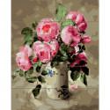 Розовый букет Картина по номерам на дереве KD0722