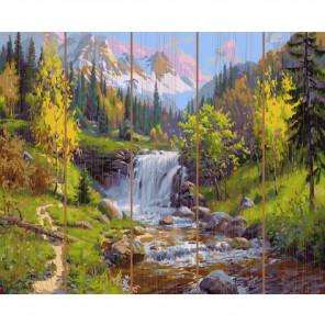 Горный ручей Картина по номерам на дереве KD0730