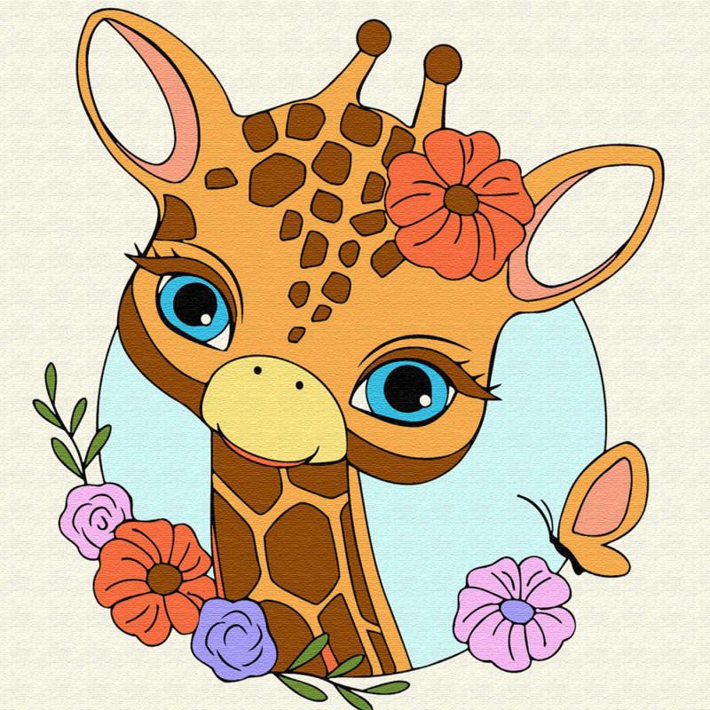 KH0449 Жираф с цветами Раскраска по номерам на холсте ...