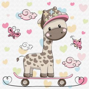 Жирафик на скейтборде Раскраска по номерам на холсте KH0451