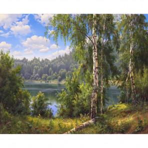 Внешний вид коробки Лесное озеро Раскраска по номерам на холсте KH0645